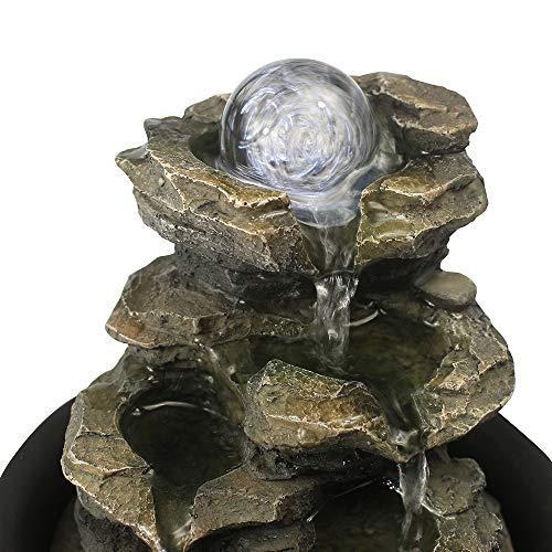 WATURE Desktop Wasserfall Brunnen - LED Tischplatte Brunnen Schreibtisch Zimmerbrunnen für Büro, Wohnzimmer, Ferienhaus mit beleuchteten LED-Leuchten &Tauchpumpe (Realistic Rock, 21cm)' - 8