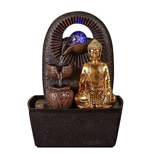 Beleuchteter Zimmerbrunnen mit Buddha und Glaskugel