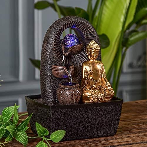 Zen Light – Zimmerbrunnen Buddha Bhava – Deko Zen und Feng Shui – originelles Geschenk – LED-Beleuchtung Mehrfarbig; Ablauf auf 3 Ebenen – L 20 x B 15 x H 25 cm – Braun Einheitsgröße - 2