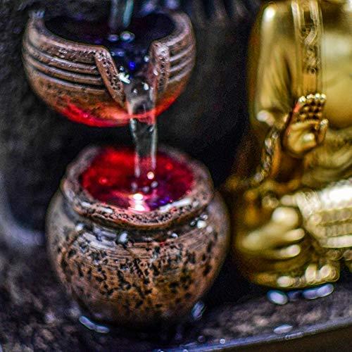 Zen Light – Zimmerbrunnen Buddha Bhava – Deko Zen und Feng Shui – originelles Geschenk – LED-Beleuchtung Mehrfarbig; Ablauf auf 3 Ebenen – L 20 x B 15 x H 25 cm – Braun Einheitsgröße - 3