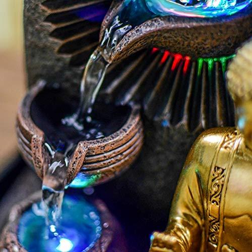 Zen Light – Zimmerbrunnen Buddha Bhava – Deko Zen und Feng Shui – originelles Geschenk – LED-Beleuchtung Mehrfarbig; Ablauf auf 3 Ebenen – L 20 x B 15 x H 25 cm – Braun Einheitsgröße - 4