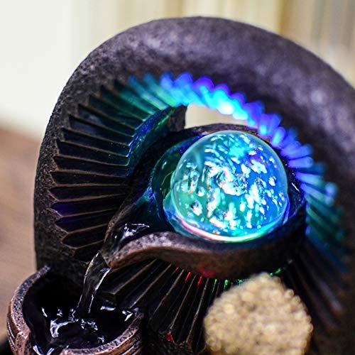 Zen Light – Zimmerbrunnen Buddha Bhava – Deko Zen und Feng Shui – originelles Geschenk – LED-Beleuchtung Mehrfarbig; Ablauf auf 3 Ebenen – L 20 x B 15 x H 25 cm – Braun Einheitsgröße - 5