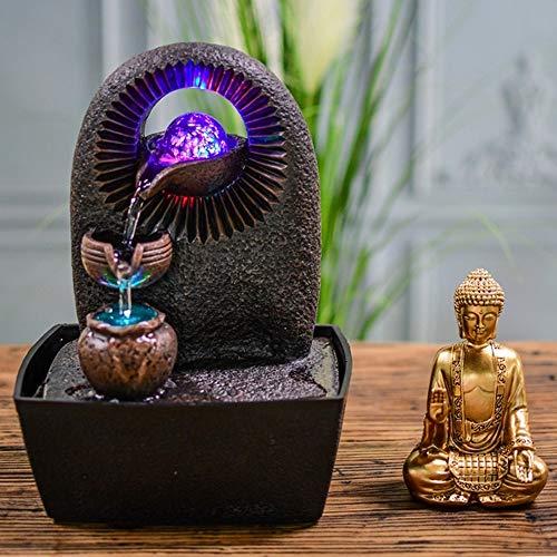 Zen Light – Zimmerbrunnen Buddha Bhava – Deko Zen und Feng Shui – originelles Geschenk – LED-Beleuchtung Mehrfarbig; Ablauf auf 3 Ebenen – L 20 x B 15 x H 25 cm – Braun Einheitsgröße - 6