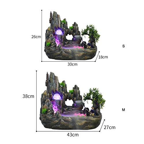 Xinxinchaoshi Indoor Desktop Brunnen Wasserfall Harz Steingarten Brunnen Set enthält Zerstäuber rotierende Kugel Beleuchtung Zubehör geeignet for Wohnzimmer Büro (Größe : S) - 2