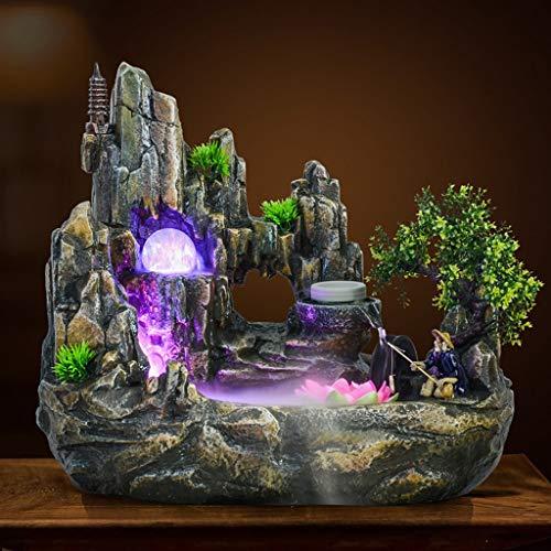 Xinxinchaoshi Indoor Desktop Brunnen Wasserfall Harz Steingarten Brunnen Set enthält Zerstäuber rotierende Kugel Beleuchtung Zubehör geeignet for Wohnzimmer Büro (Größe : S) - 6