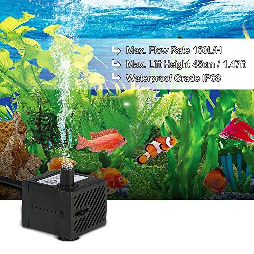 Weehey Hylotele 150L/H 2W Mini Wasserpumpe, AC220-240V Tauchpumpe Brunnenpumpe für Aquarium Brunnen Teich Gardens und hydroponische Systeme mit Einer Düse 4,9 ft (1,5 m) - 2