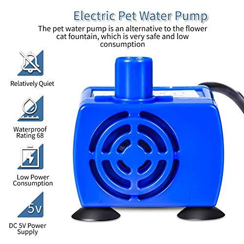 Haofy Haustier Trinkbrunnen Pumpe, Ersatzpumpe für 2.4L Große Kapazität Automatische Haustier Wasserspender, Wasserpumpe für Blumentrinkbrunnen für Kleine Mittlere Hunde und Katzen - 8