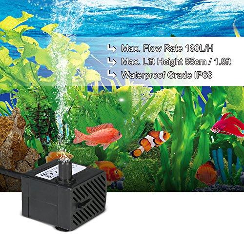 Decdeal Wasserpumpe Aquarium Pumpe Tauchpumpe für Brunnen Aquarium 2W / 2.5W / 4W Optional - 3