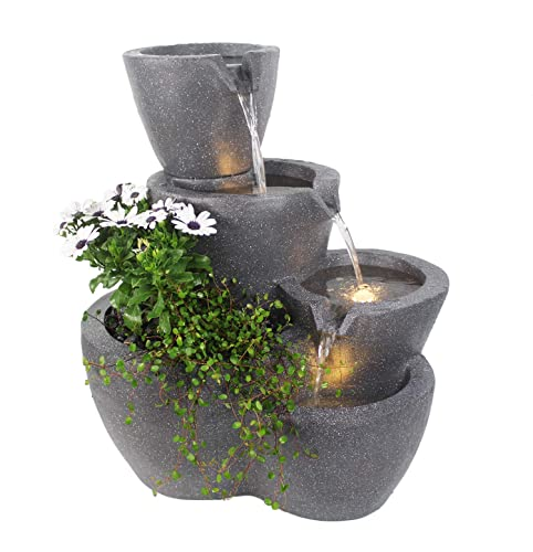 Springbrunnen Botana Gartenbrunnen mit Beleuchtung bepflanzbar Zimmerbrunnen Terrassenbrunnen (LED: Warm-Weiß) - 5