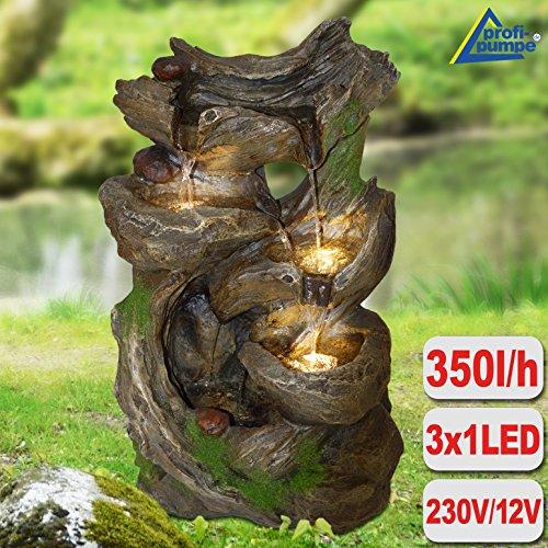 AMUR Zimmerbrunnen Gartenbrunnen Brunnen Zierbrunnen Brunnen Vogelbad Märchenwald mit LED-Licht 230V Wasserfall Wasserspiel für Garten, Gartenteich, Terrasse, Teich, Balkon Sehr Dekorativ - 8