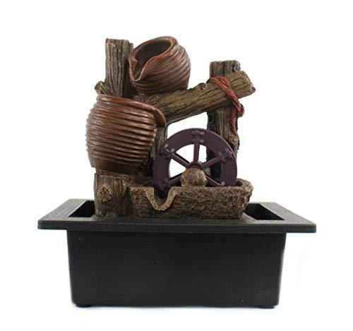 DARO DEKO Brunnen-Set mit Stromstecker und Pumpe Krüge und Wasser-Rad 23cm x 27cm - 2