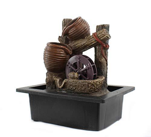 DARO DEKO Brunnen-Set mit Stromstecker und Pumpe Krüge und Wasser-Rad 23cm x 27cm - 3