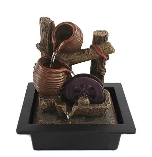 DARO DEKO Brunnen-Set mit Stromstecker und Pumpe Krüge und Wasser-Rad 23cm x 27cm - 5