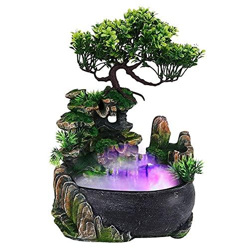 Zimmerbrunnen mit Nebler, LED-Beleuchtung und Platz für eine Pflanze