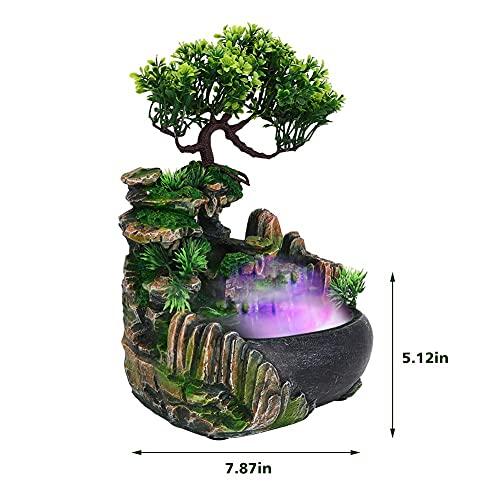 Zimmerspringbrunnen, Zimmerbrunnen mit Beleuchtung Tischbrunnen LED Balkon Brunnen Nebel Pflanzen mit Pflanzen Wasserfall Desktop Brunnen mit Farbwechsel Simulation Steingarten Luftbefeuchter Dekor - 6