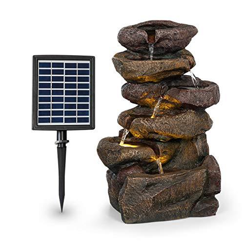 Solarbrunnen Savona mit Akku und LED-Beleuchtung in Steinoptik