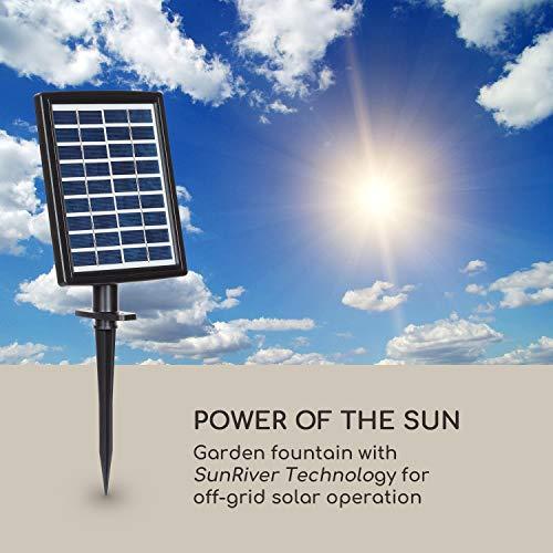 blumfeldt Savona Solarbrunnen,inkl. Solarpanel,Leistung: 2,8 Watt,Lithium-Ionen-Batterie (ca. 5h Laufzeit),LED-Beleuchtung,Material: Polyresin,frostbeständig,Steinoptik - 2