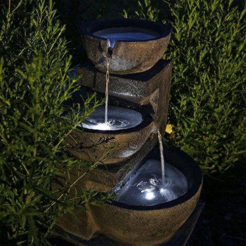 Gartenbrunnen Solar mit Akku und LED-Beleuchtung in Steinoptik