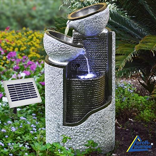 Gartenbrunnen solarbetrieben mit Akku, Kaskaden und LED-Beleuchtung in Granitoptik