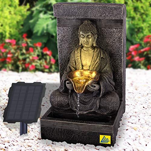 Gartenbrunnen Solar Buddha mit Akku und LED-Beleuchtung