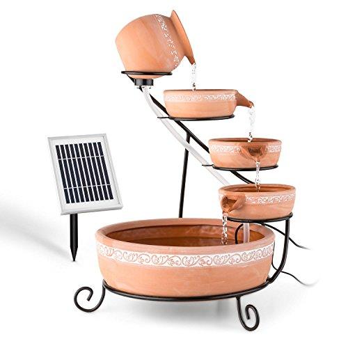"""Solar Gartenbrunnen """"Empoli"""" mit Kaskaden und LED-Beleuchtung"""