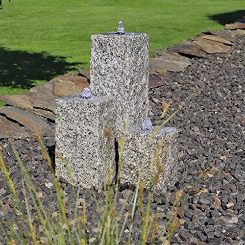Gartenbrunnen aus Granit mit 3 Säulen und LED-Beleuchtung