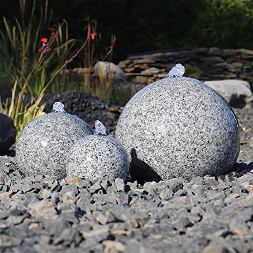 Gartenbrunnen aus Granit mit 3 Kugeln und LED-Beleuchtung