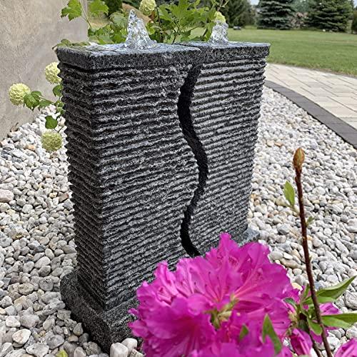 Gartenbrunnen Granit mit 2 Säulen, LED-Beleuchtung und Wasserfall