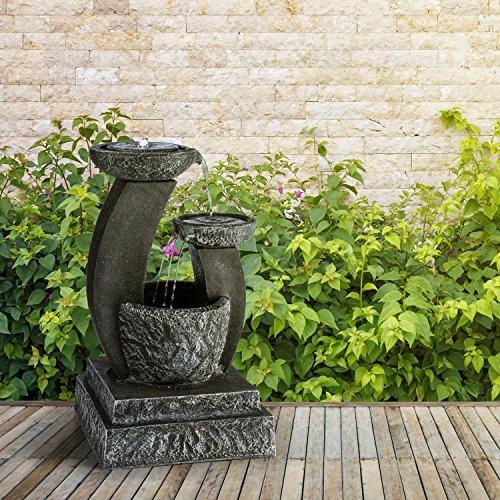 blumfeldt Fantaghiro Zierbrunnen mit Wasserspiel - Gartenbrunnen, 3 Ebenen, integrierte Beleuchtung, 3 W Solarpanel, unabhängig vom Stromnetz Dank Akku, Polyresin, Naturstein-Optik, schwarz - 4