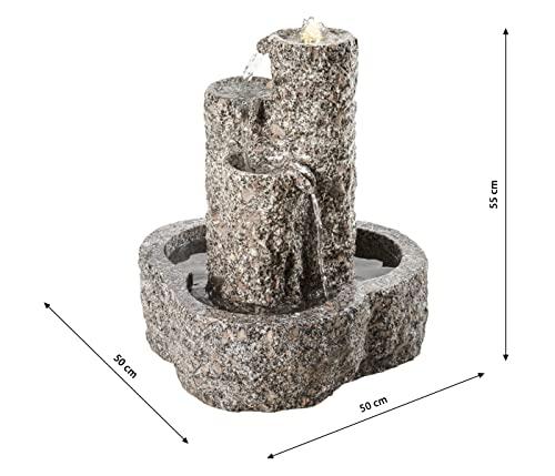 Dehner Gartenbrunnen Heidelberg mit LED Beleuchtung,Ø 50 cm, Höhe 55 cm, Granit, grau - 3
