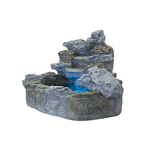 STILISTA Mystischer Gartenbrunnen Olymp Brunnen in Steinoptik 100x80x60cm groß Springbrunnen inkl. Pumpe und LED- Beleuchtung rot blau gelb grün - 2
