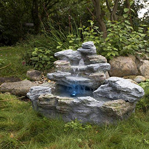 STILISTA Mystischer Gartenbrunnen Olymp Brunnen in Steinoptik 100x80x60cm groß Springbrunnen inkl. Pumpe und LED- Beleuchtung rot blau gelb grün - 3