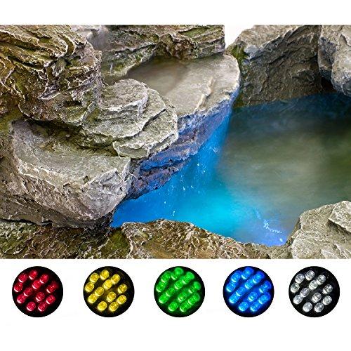 STILISTA Mystischer Gartenbrunnen Olymp Brunnen in Steinoptik 100x80x60cm groß Springbrunnen inkl. Pumpe und LED- Beleuchtung rot blau gelb grün - 4