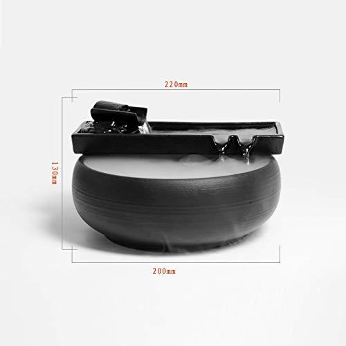 HFFFHA Garten-Brunnen-Keramik Wasser Desktop-Wasser-Eigenschaft Zen-Brunnen Indoor-Wasser-Brunnen for Den Garten Feng Shui Innen Ornaments Zimmerbrunnen Glückliche Wassertank Fish Tank Small Gift Zen - 2