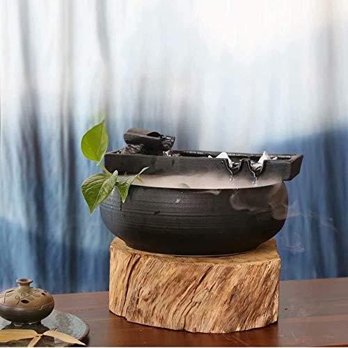 HFFFHA Garten-Brunnen-Keramik Wasser Desktop-Wasser-Eigenschaft Zen-Brunnen Indoor-Wasser-Brunnen for Den Garten Feng Shui Innen Ornaments Zimmerbrunnen Glückliche Wassertank Fish Tank Small Gift Zen - 3