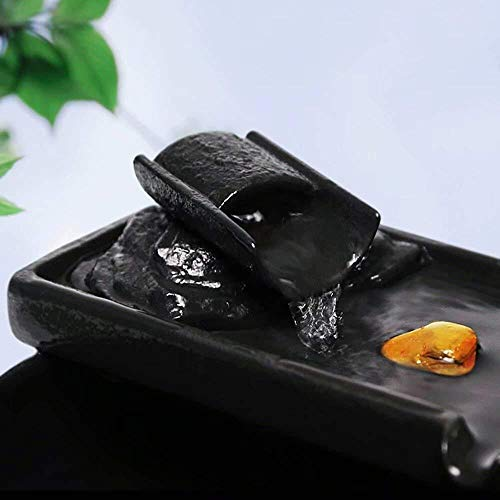 HFFFHA Garten-Brunnen-Keramik Wasser Desktop-Wasser-Eigenschaft Zen-Brunnen Indoor-Wasser-Brunnen for Den Garten Feng Shui Innen Ornaments Zimmerbrunnen Glückliche Wassertank Fish Tank Small Gift Zen - 4