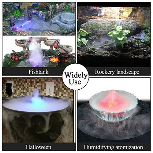 FITNATE Ultrasonic Fog Maker Machine Farbwechsel 12 LED Nebelgerät Springbrunnen Teich Nebel Zerstäuber Luftbefeuchter, für Halloween, Party - 7