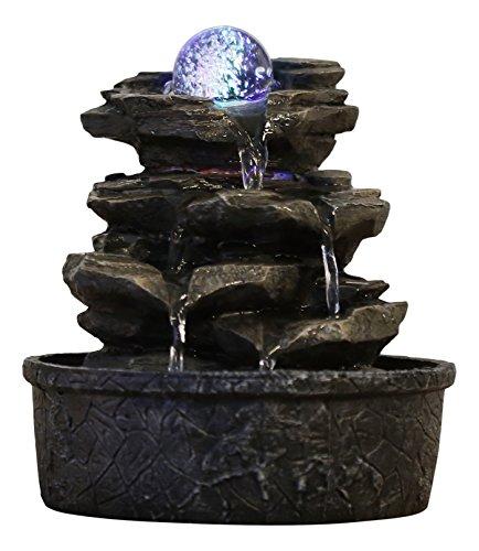 """Beleuchteter Kaskadenbrunnen / Kugelbrunnen mit drehender Kugel """"Little Rock"""""""