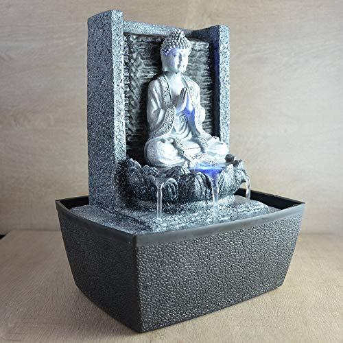Zimmerbrunnen meditierender Buddha mit Beleuchtung