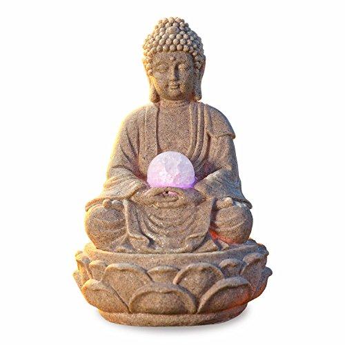 Buddha Tischbrunnen Lotus mit LED-Beleuchtung