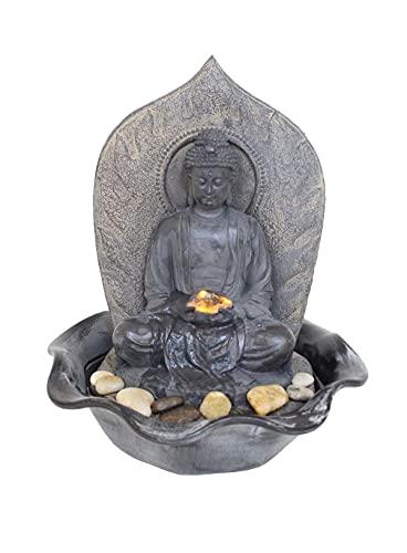 Buddha Brunnen FoBuddha mit warmweißer Beleuchtung