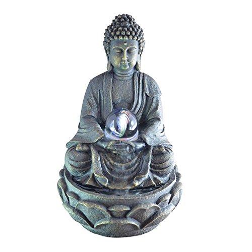 Feng Shui Zimmerbrunnen mit meditierendem Buddha und Beleuchtung
