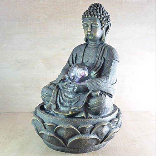Feng Shui Zimmerbrunnen mit meditierendem Buddha und Beleuchtung - 6