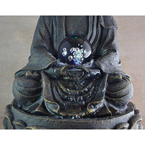 Feng Shui Zimmerbrunnen mit meditierendem Buddha und Beleuchtung - 2