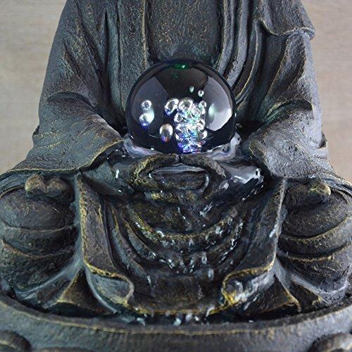 Feng Shui Zimmerbrunnen mit meditierendem Buddha und Beleuchtung - 3