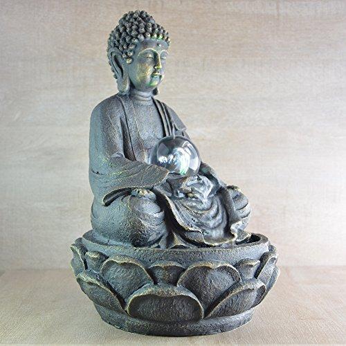 Feng Shui Zimmerbrunnen mit meditierendem Buddha und Beleuchtung - 5