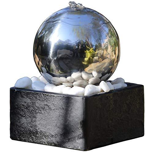 Kugelbrunnen Rumba aus Edelstahl mit LED-Beleuchtung von Köhko