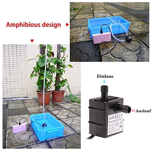 Decdeal USB Wasserpumpe Teichpumpe für Brunnen Aquarium und Modellbau 220L / H Auftrieb 250cm DC5V - 4