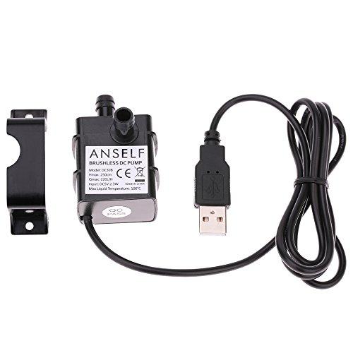 Decdeal USB Wasserpumpe Teichpumpe für Brunnen Aquarium und Modellbau 220L / H Auftrieb 250cm DC5V - 6