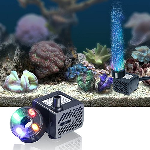 Koopower Mini Wasserpumpe mit LED 180L/h 3.5W kleines Aquarium, Garten, Brunnen, Gartenteich Springbrunnen, Aquariumpumpe. - 4